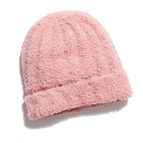 FREE PEOPLE Cloud Rib Blush Beanie Soft Lulliby Pull On Cozy Comfy Boho Warm